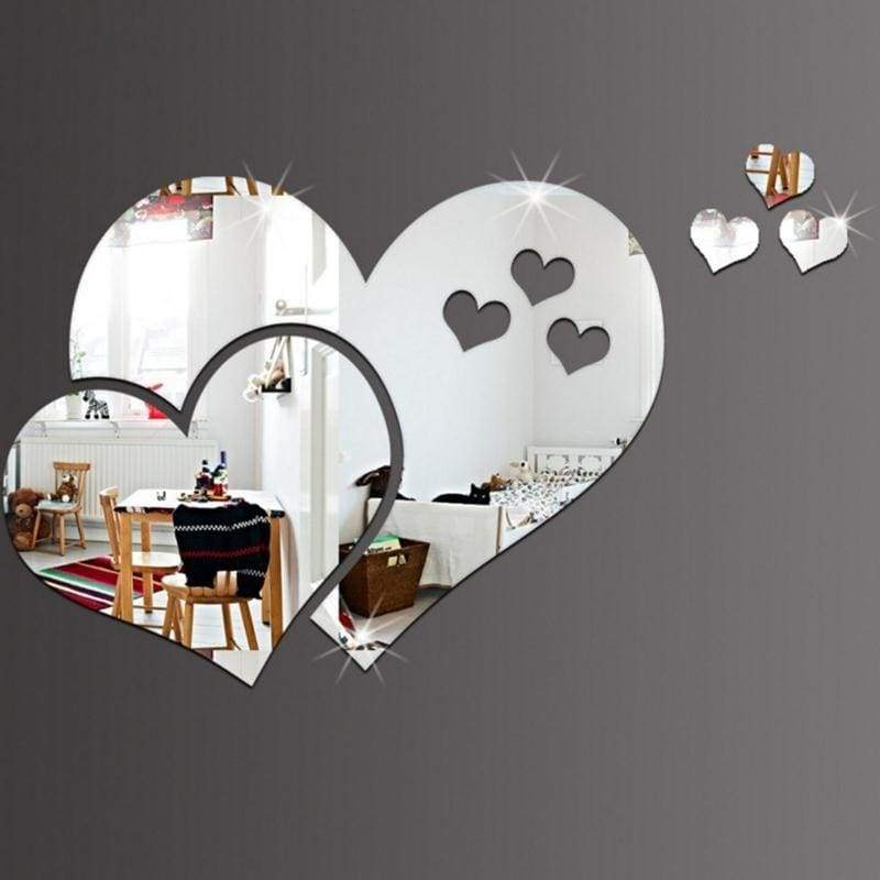 Lovely 16PCS Silver Mirror Hearts Decoration Home Room Art 3D DIY Wall Stickers