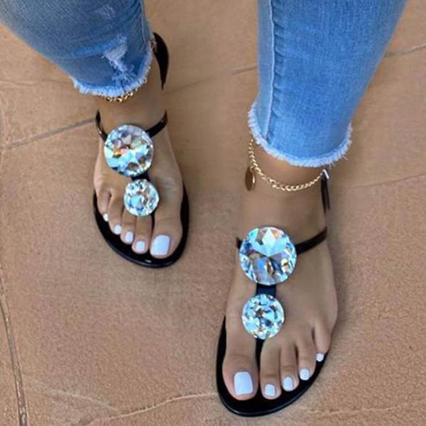 Zoeyootd Women Large Shining Rhinestone Open Toe Sandals