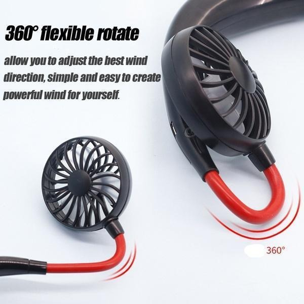 (LAST DAY PROMOTIONS - Save 50% OFF & Buy 2 Free Shipping) Rechargeable Neckband Fan - Keep Cool Wherever You Are!