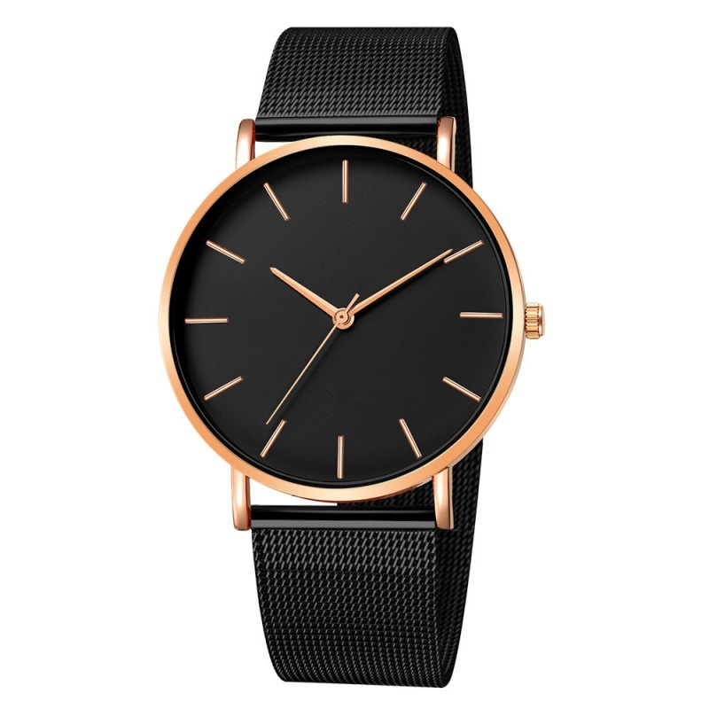 Watches For Men Minimalism Watches For Men Mesh Strap Watch Classic Black Watch Man Clock Male Business Casual Quartz Watches High Quality Watches