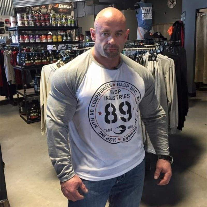 Men's Fitness Round Neck T-Shirt Sports Casual Skinny Outdoor Bodybuilding Long Sleeve Running Training Cotton Tops