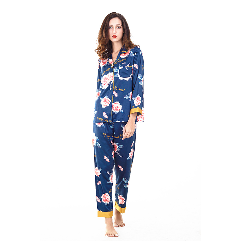 Ice silk print sexy pajamas spring and autumn long-sleeved trousers cardigan silk suit