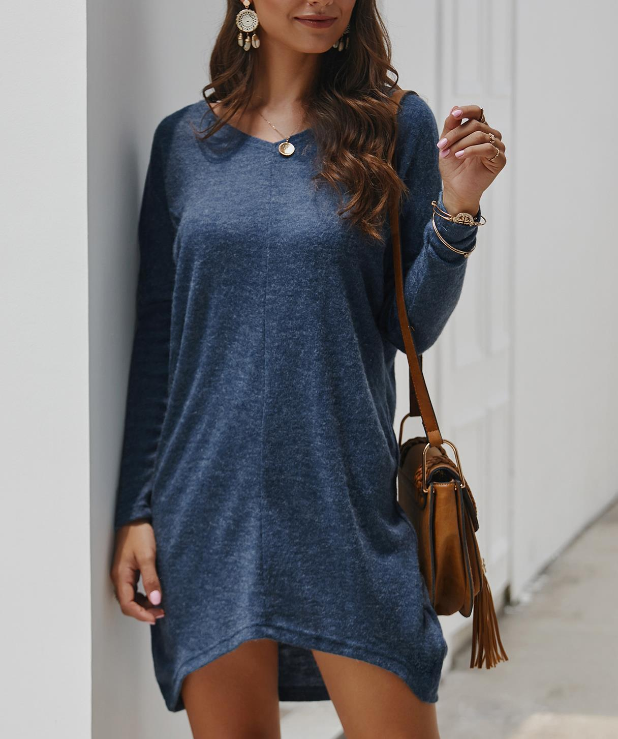 Casual loose top sweater with Dresses