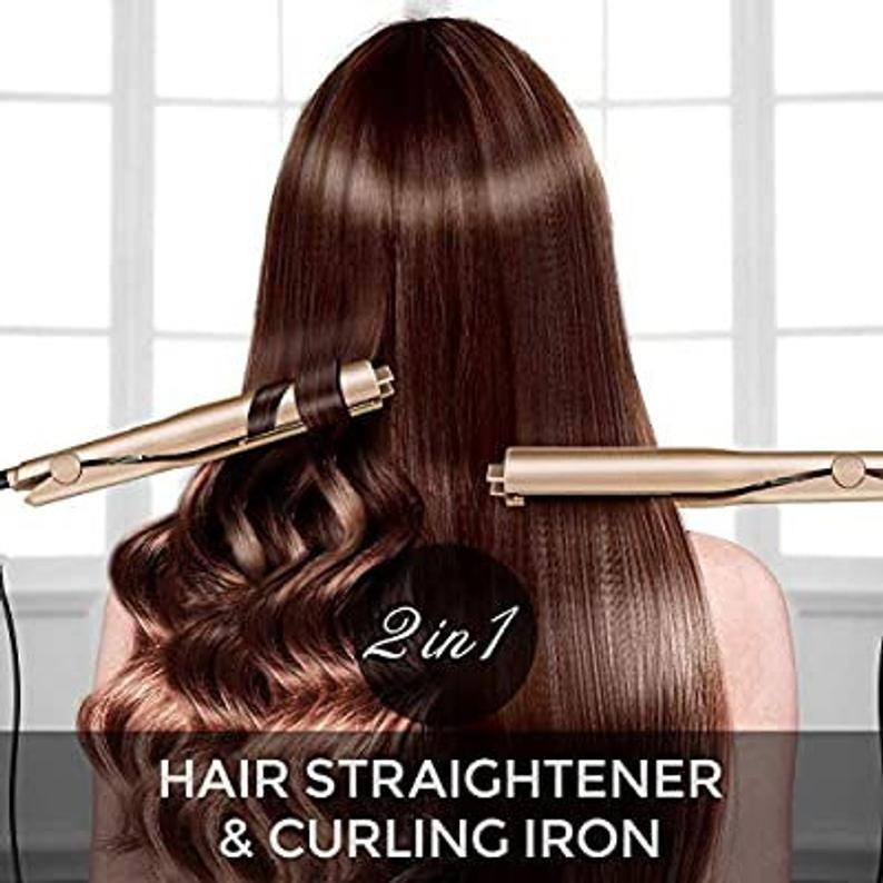 2-in-1 Hair Straightener Curler Plated Styling Tool