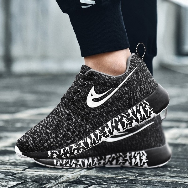 KAWASOY New Trend of Fashion Men Shoes Breathable Flying Woven Breathable Running Lightweight Mesh Sports Shoes Men's Wild Size:34-47