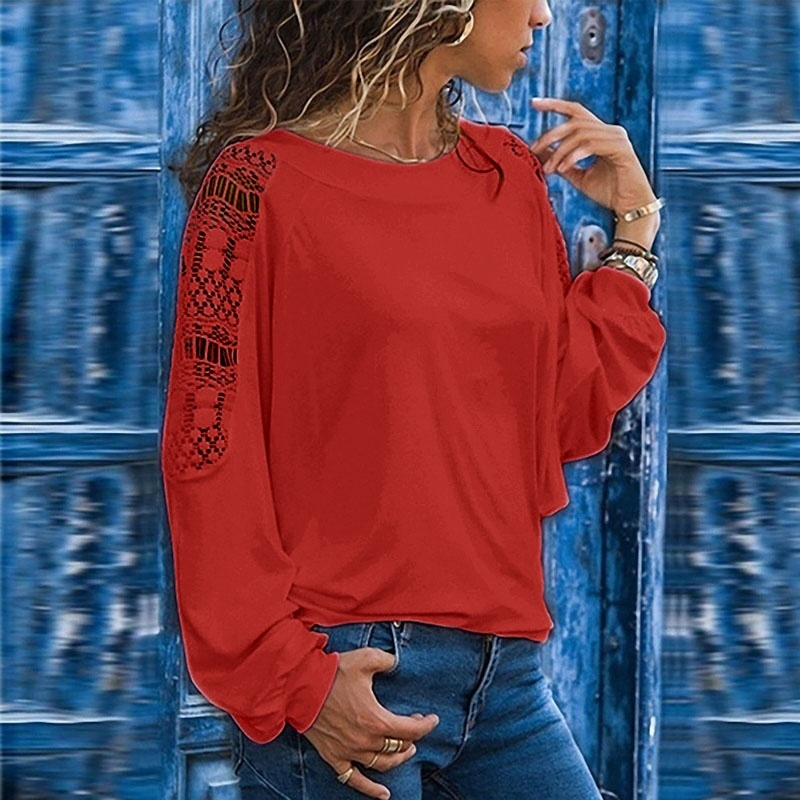 Autumn and Winter Fashion Womens Long Sleeve Sweatshirts Plus Size Casual Lace Stitching T-shirts Hollow Out Loose Cotton Pullover Tops XS-8XL