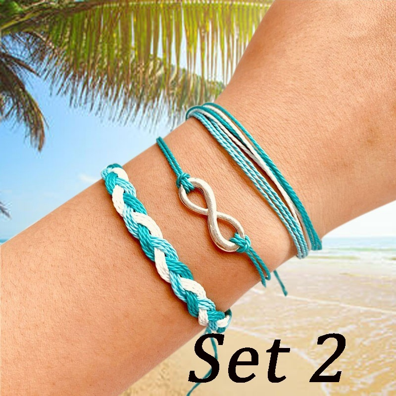 Bohemian Shell Rope Ins Bracelets Set for Woman Multilayer Wave Infinity Weaved Colorful Chain Friendship Bracelet Pulseira Adjustable Jewelry