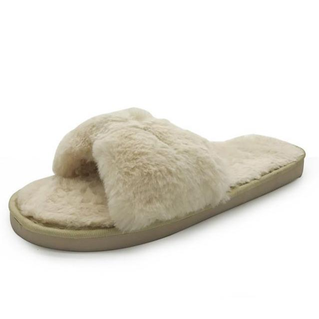 Women's cute bowknot sippers furry warm house shoes for winter