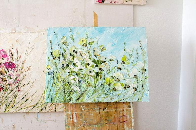 Blue Painting Blue White Oil Painting Flowers Impasto Painting Original Wildflowers Field Abstract Flower Dine Room Wall Art Canvas Modern