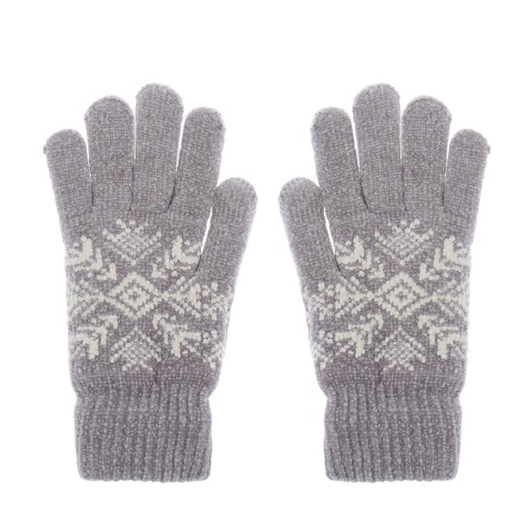 Unisex Easy To Wear 100% Acrylic Knitted Cotton Gloves For Winter Gloves-1.9