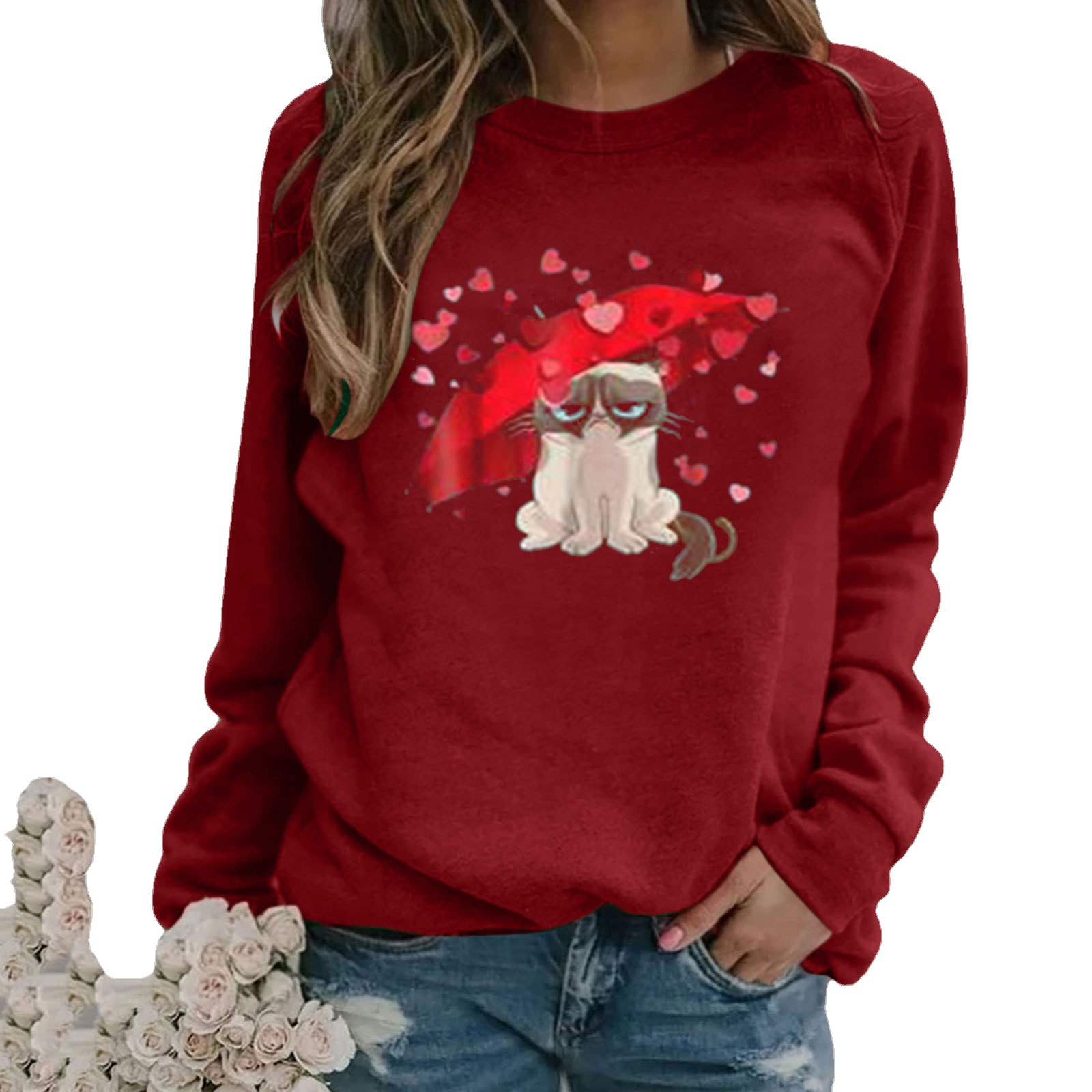 Valentine's Day Fashion Long Sleeve Shirts for Women Love Cat