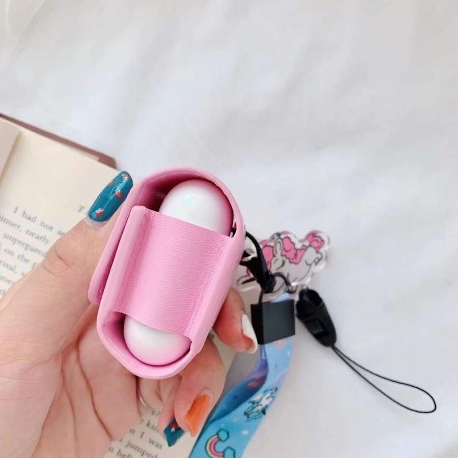 Women's Cute Unicorn Avocado Cartoon Anti-lost Wireless Earphone Leather Bag Protective Case Box With Hand Strap For Apple Airpods