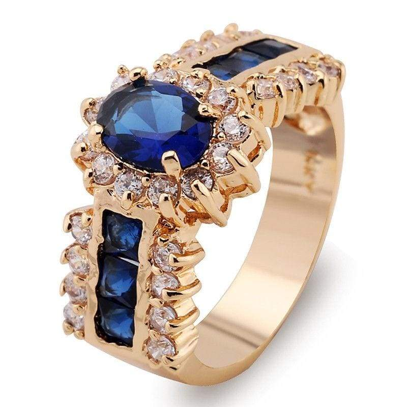 6-10# Luxury 14kt Yellow Gold Filled Zircon Blue Sapphire Wedding Rings Bridal Gift