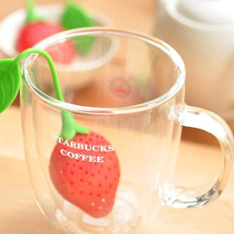 Tea infuser silicone strawberry herbal spice filter diffuser