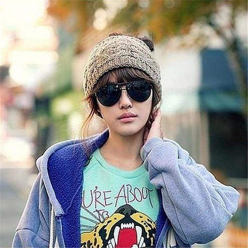 Winter Hat for Women Wool Stretchy Knitted Hat Ponytail Cap Warm Hat Woolen Knit Beanie Elastic Ski Cap