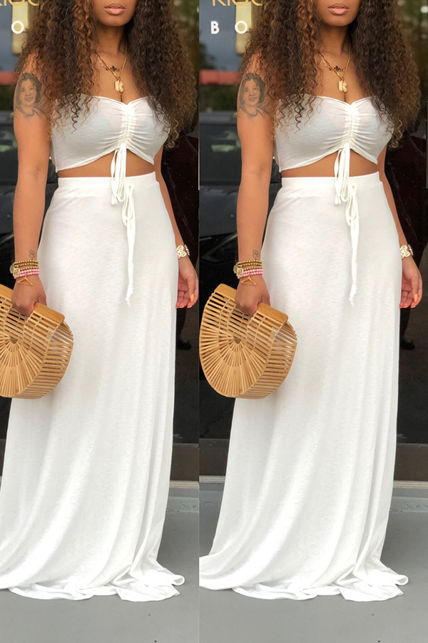 Solid Color Tube Top & Skirt Two-piece Set