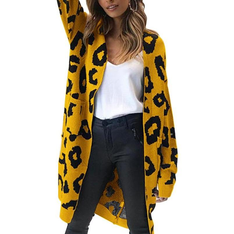 9 Colors women's leopard cardigan sweater with pocket