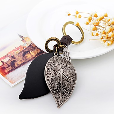 Keychain Leaf Vintage Ring Jewelry Silver For Daily Going out