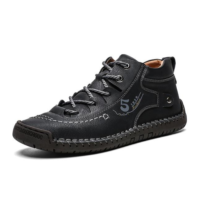 Mens lace-up short boots casual soft leather boots moccasins shoes