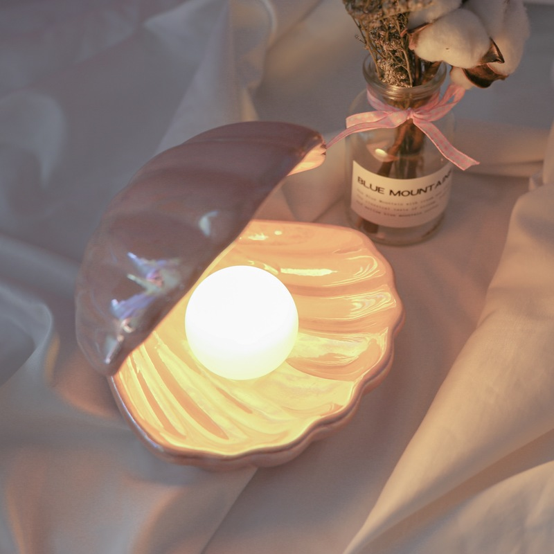 Japanese Style Ceramic Shell Pearl Night Light