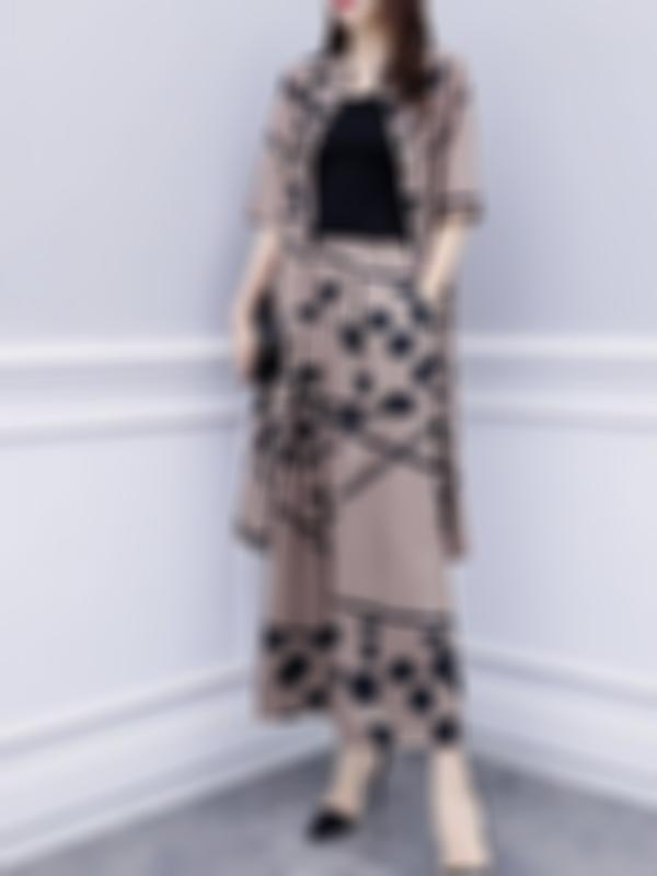 Casual Plus Size Top And Wide Leg Pant Two Pieces Suit