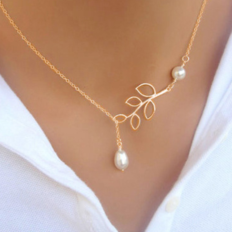 Fashion Personality Leaf Faux Pearl Drop Cross Necklace