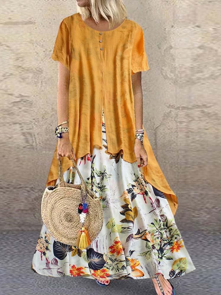 Cotton and Linen Printed Round Neck Faux Two Dresses
