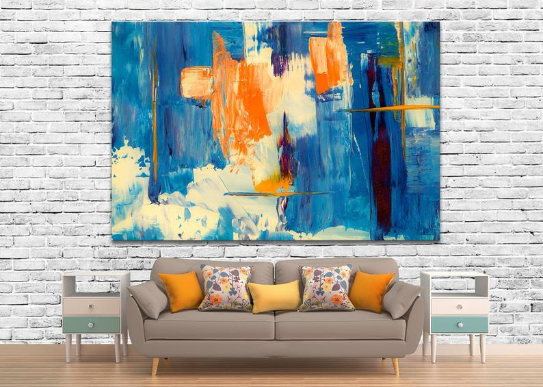 Minimalist Abstract Painting Canvas Abstract Oil Painting,Yellow blue abstract painting on canvas,Modern Painting, Abstract Painting canvas