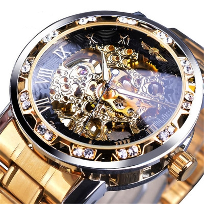 【Swiss Watches】 Men's Classic Open Blank Diamond Automatic Mechanical Watch