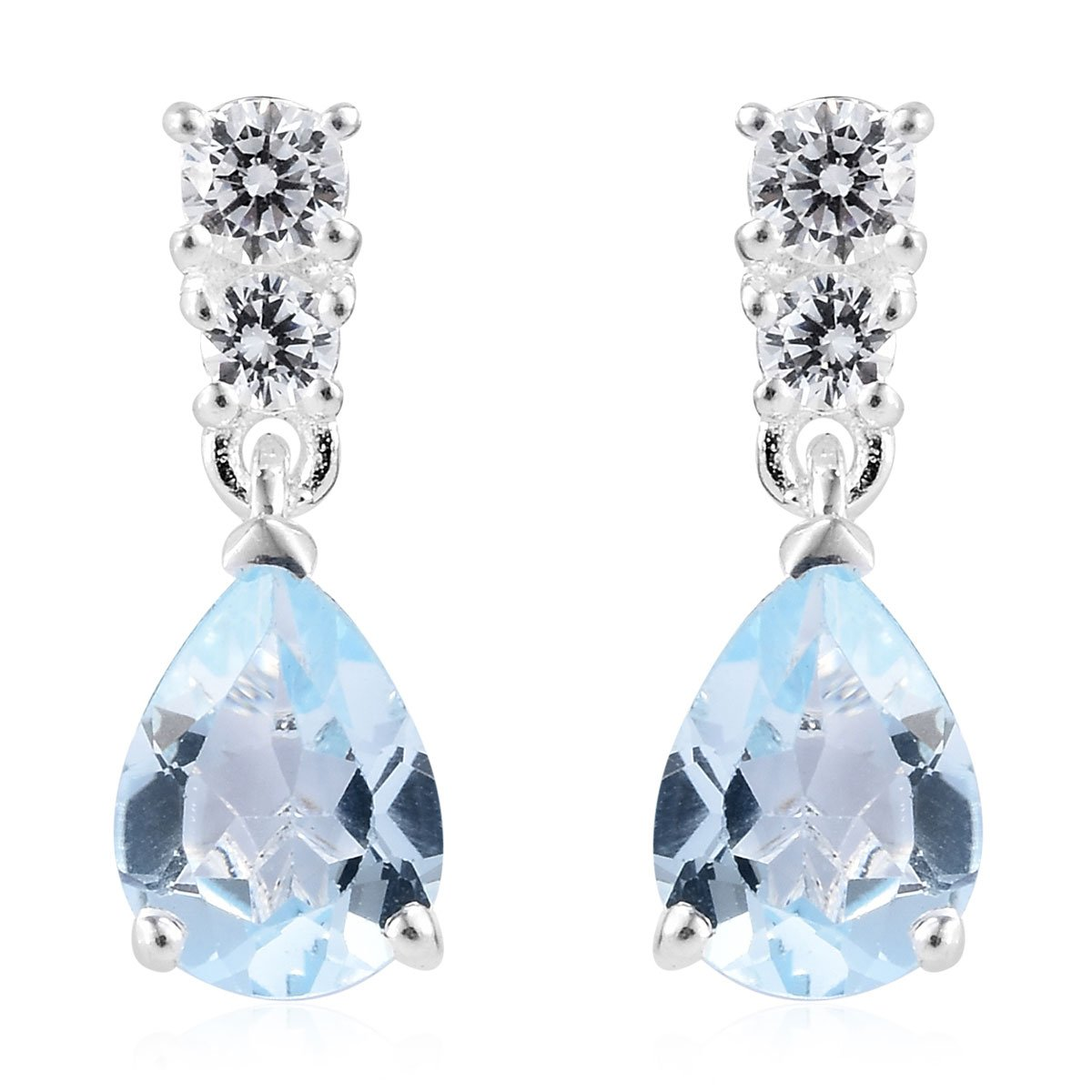 Women's CZ Dangle Drop Earrings Pear Blue Topaz Cubic Zirconia Silver Jewelry