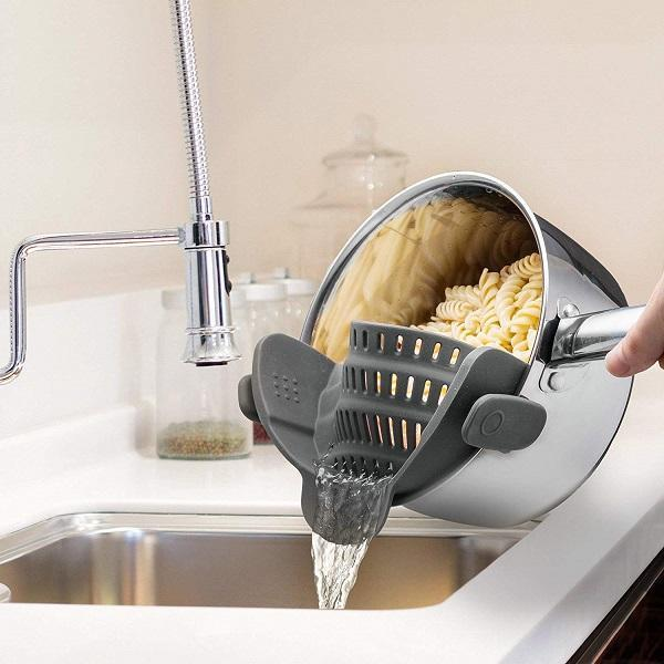 Clip On Silicone Colander Kitchen Strain Strainer
