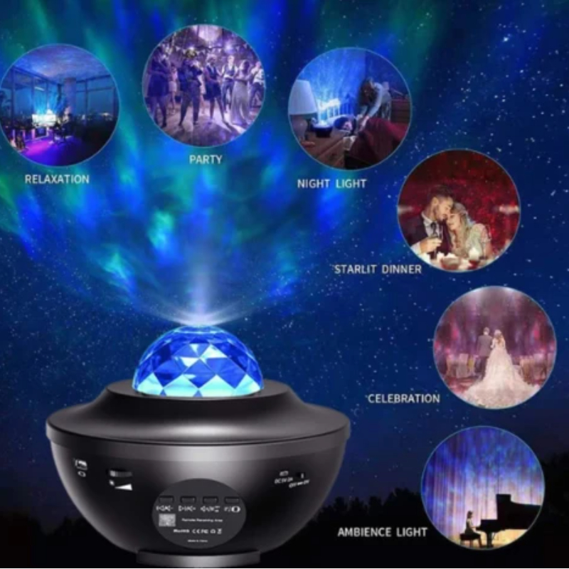 Galaxy Projector Night Light, Sound Control Music Star Sea Projector, LED Nebula Cloud Galaxy Projector