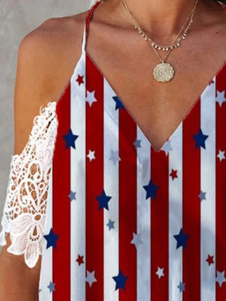 Independence Day Printed Short-Sleeved T-shirt