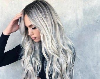 2021 New Lace Front Wigs Straight Purple Wig Warm Grey Hair Color Best Hair Color For White Skin