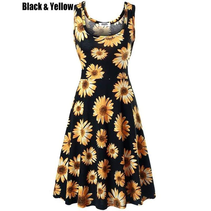 Women's Casual Beach Summer Sleeveless Tank Dress Floral Dress
