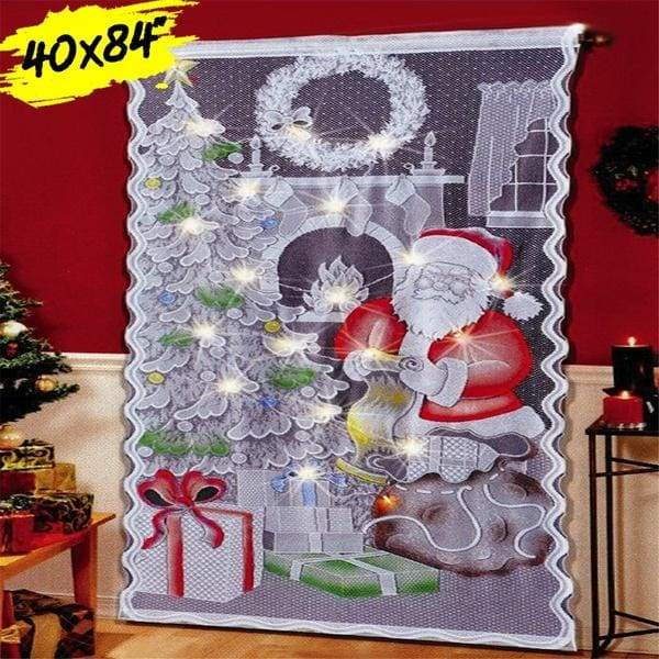 3.3X7ft inch Door Window Curtain Christmas Tree Snowman WITH 20 LED Lights String Sheer Tulle Curtains(No Battery)