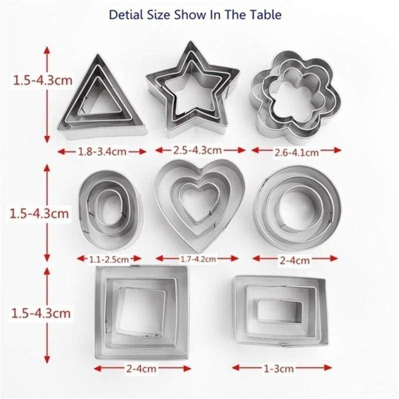 24PCS 8 Patterns Stainless Steel Cake Mold Star Heart Geometry Cake Cookie Cutter Decorating Mould