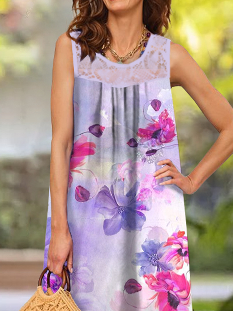 Lace Patchwork round Neck Printed Casual Long Dress