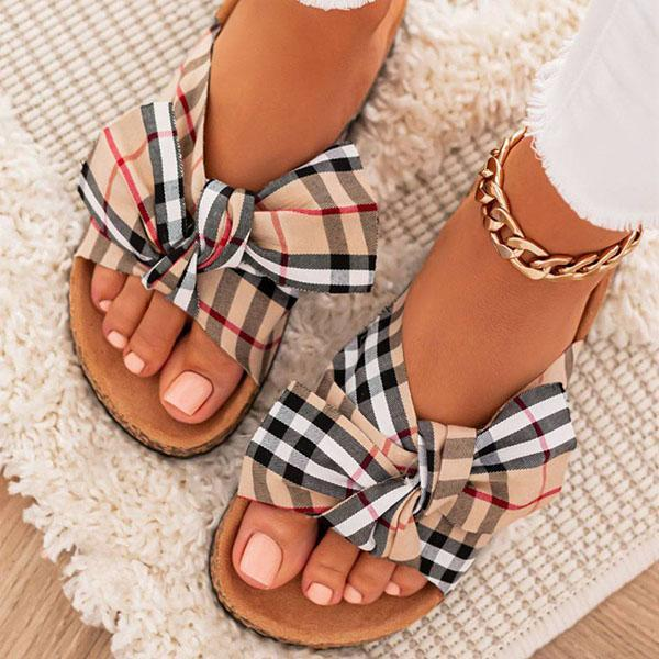 zoeyootd Women Comfy Classic Plaid Summer Sandals