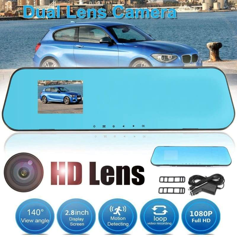 4 Style Dual Lens HD 1080P LCD Car DVR Dash Cam Video Recorder Rear View Mirror Camera 2.8/4.3/4.5inch Wide Angle