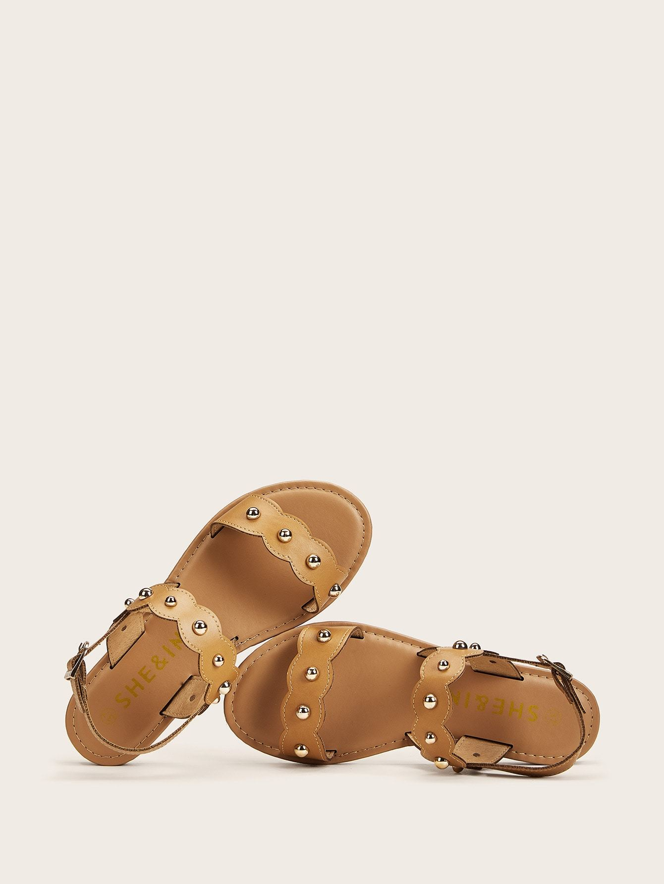 Studded Decor Scalloped Trim Sandals