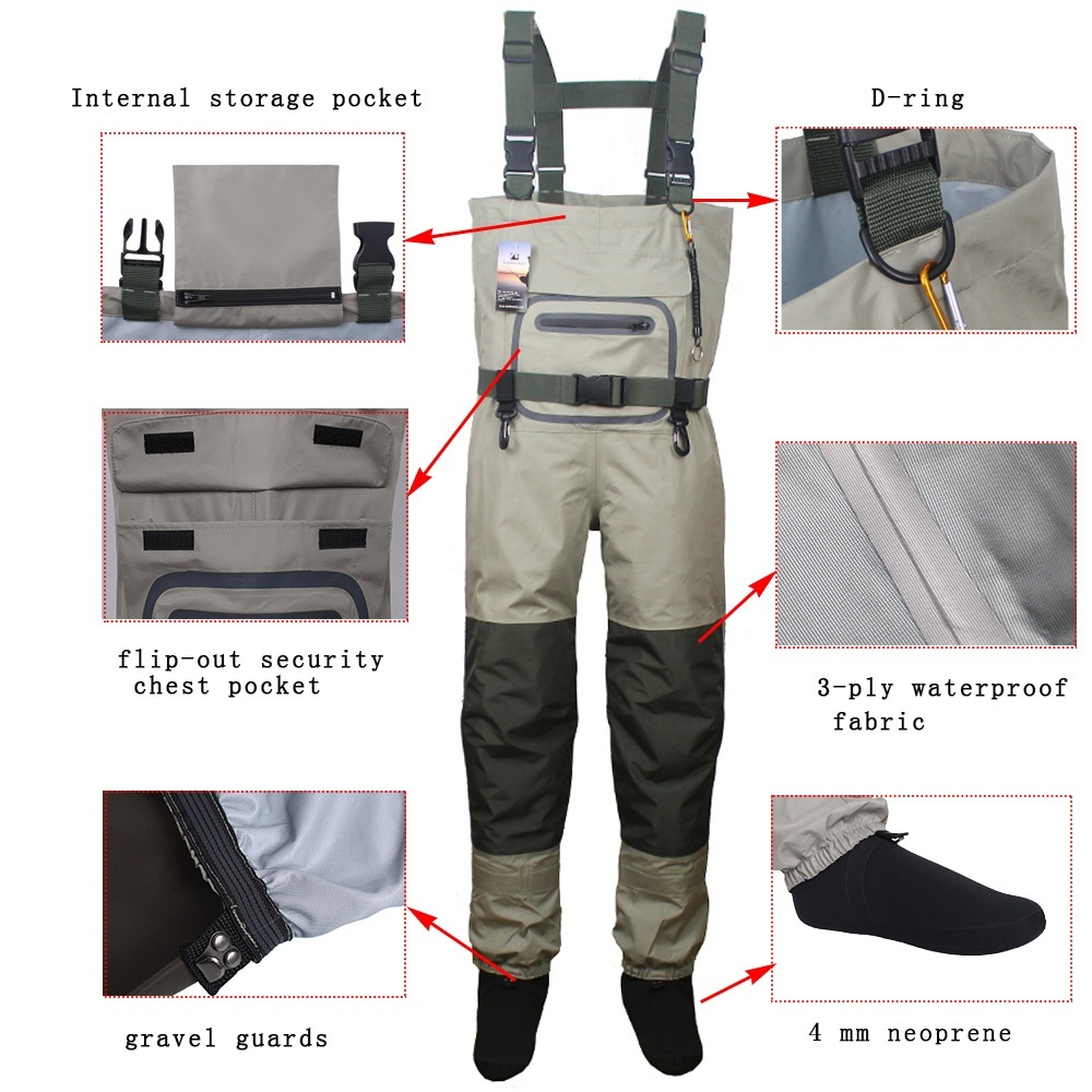 Fishing Waders Durable and Comfortable Breathable Stocking foot Chest Waders pants  kits for men and women