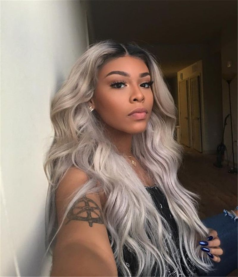2020 New Gray Hair Wigs For African American Women Burgundy Lace Front Wig Ombre Wigs Dark Brown To Grey Ombre Ariana Grande Gray Hair Rihanna Grey Hair