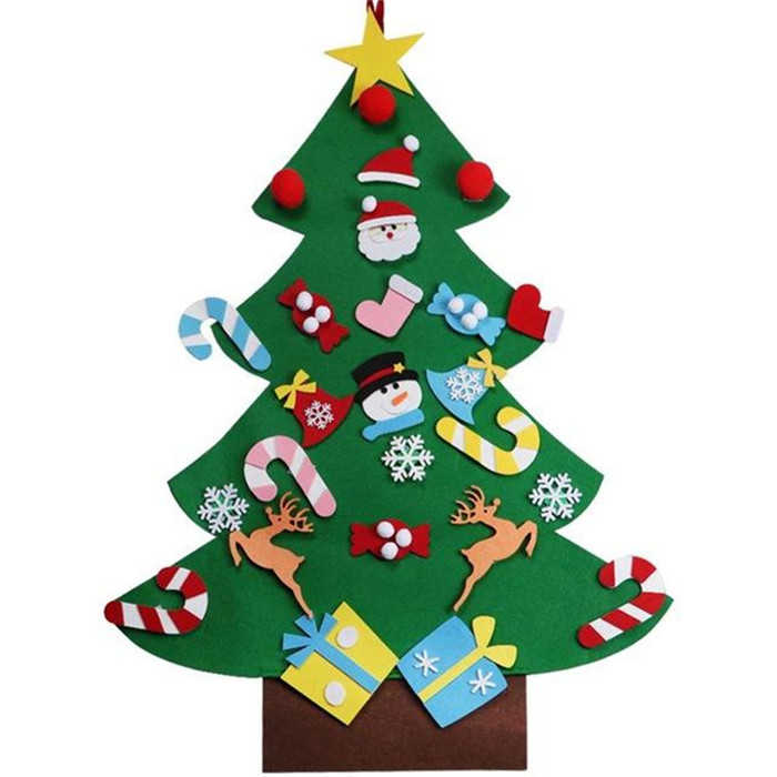 2 Sets DIY Felt Christmas Tree with Ornaments Kids Children Xmas Gifts Wall Hanging Christmas Decoration