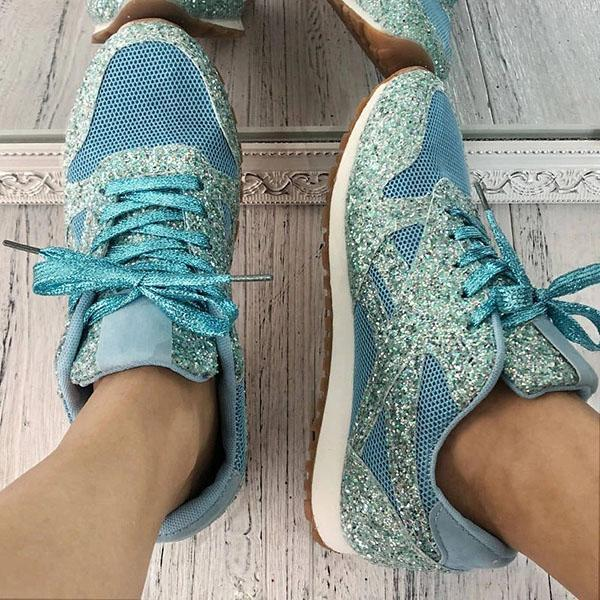 Lemmikshoes Women'S Solid Sequined Lace-Up Sneakers