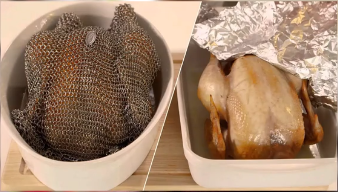 (Juicy Roasted🍗)FoodGrade Stainless Steel Chainmail Baking Cover