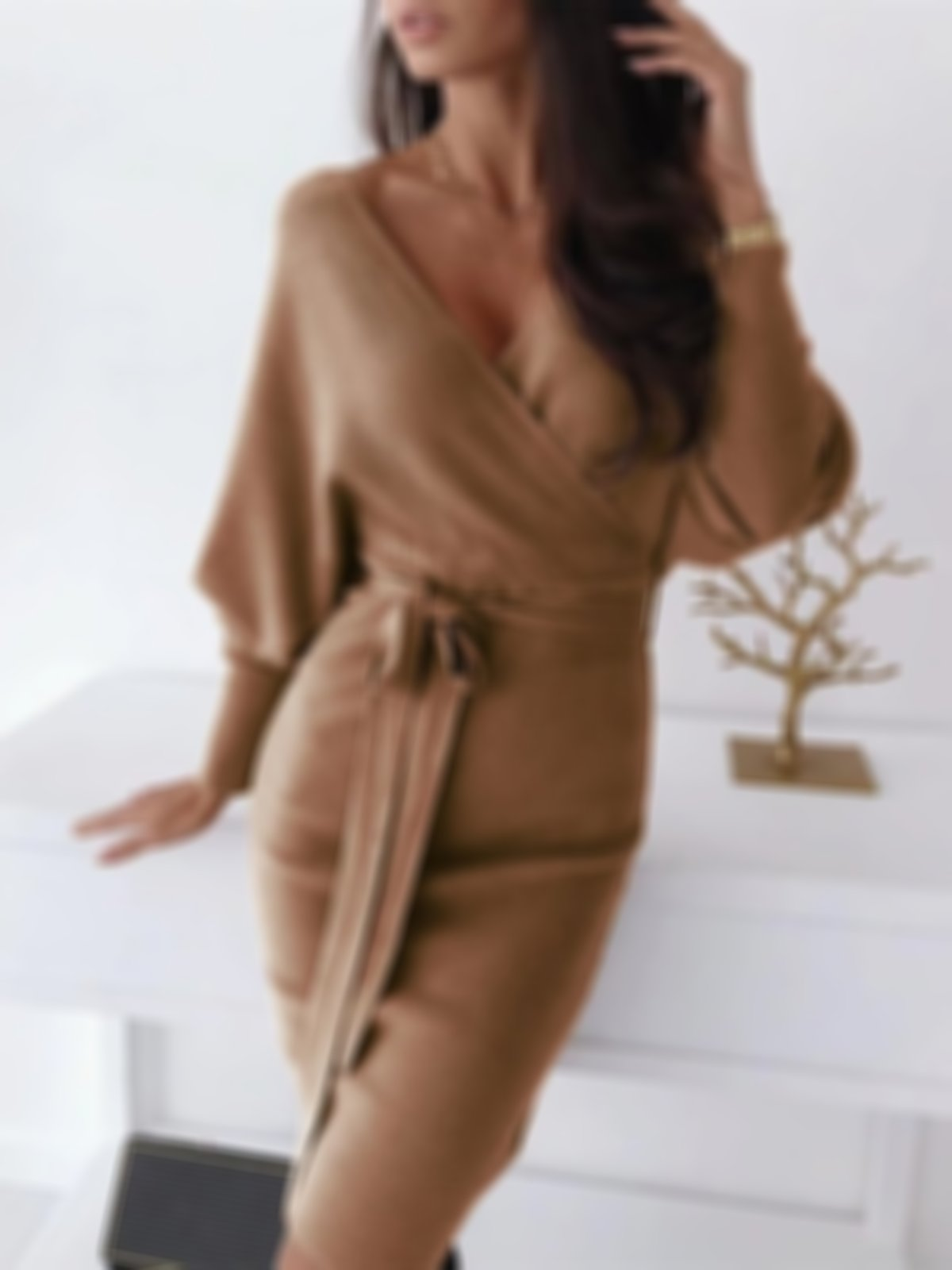 Women's v-neck sexy knitted sweater dress