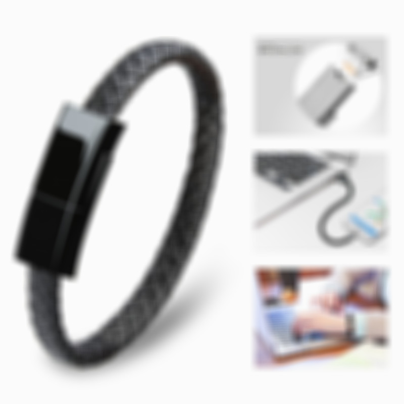 Fashion Leather USB Bracelet Universal Charging Cable