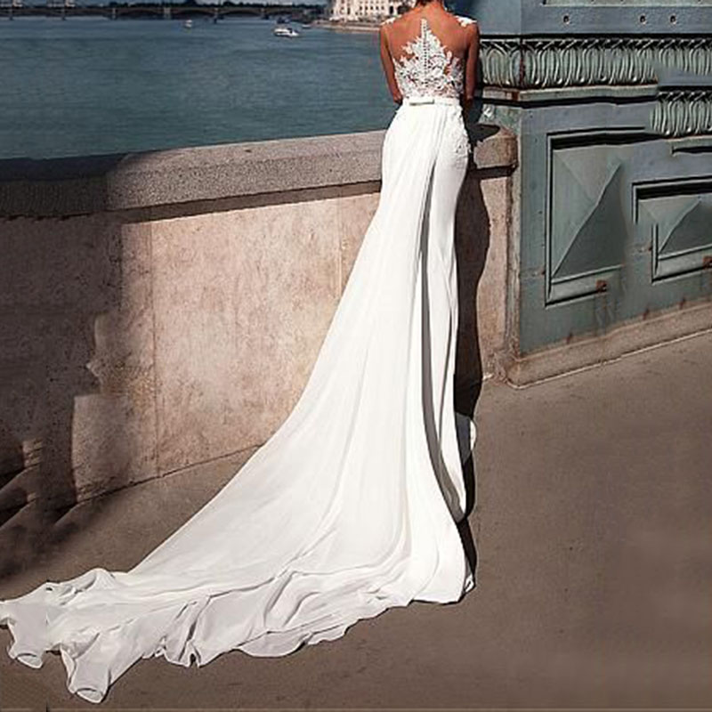 Sexy Lace Perspective Maxi Wedding Evening Dress