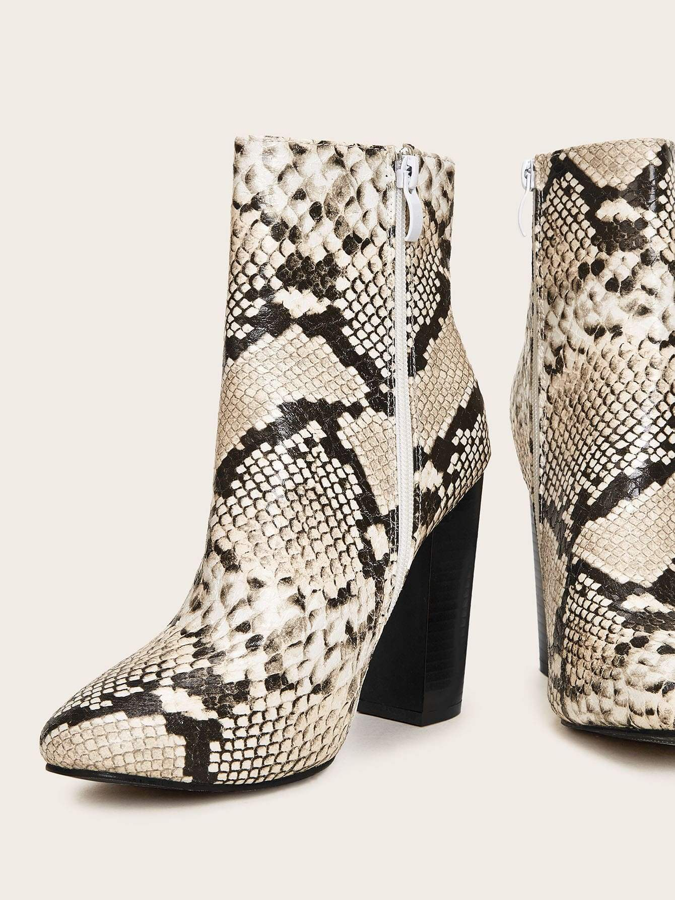 Snakeskin Side Zip Chunky Boots